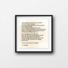 I carry Your Heart, Poem Love quote, Family, Poetry Art, Typography, Inspirational Quote, Love Family, Nursery Print, Large Wall Art