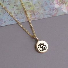 Tiny Bronze Om Aum Charm Gold Chain Necklace Yoga by DJStrang