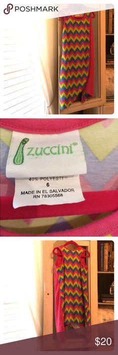 Zucchini Girls dress Sz 6 Pink Green Turquoise chevron design / sleeveless / asymmetrical hemline / racer back Zuccini Dresses Casual