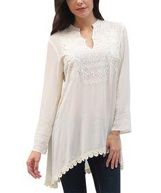 Ivory Esma Lace-Trim Notch Neck Tunic