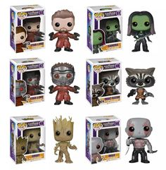 Funko Pop! Marvel: The Guardians of the Galaxy  #47 Star-Lord #48 Rocket Raccoon #49 Groot #50 Drax #51 Gamora #52 Star-Lord (unmasked Amazon.com exclusive)