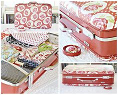 Cute tutorial on how to cute-ify an old suitcase with fabric, mod podge and a little spray paint.