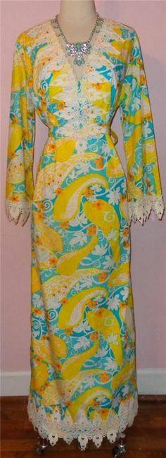 Rare Opportunity NOS Vtg 60s THE LILLY PULITZER Macrame Maxi Dress Unworn Vtg L