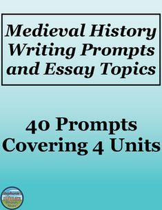 These 40 writing prompts for Medieval History cover Byzantines and Slavs, Islam, the Rise of Medieval Europe, and Medieval Europe at its Height. They are a combination of academic, what if, opinion questions, and creative tasks with visual components. This would be great for a sub!