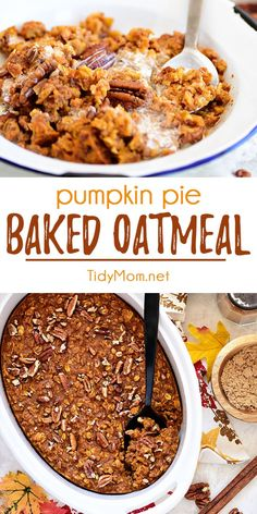 This Baked Pumpkin Pie Oatmeal has all the warm flavors of pumpkin pie in a quick and easy breakfast idea. Transform ordinary oatmeal into something special on cold mornings. Breakfast doesn't get much easier or more delicious. Print the full recipe at The Oatmeal, Baked Pumpkin Oatmeal, No Bake Pumpkin Pie, Best Pumpkin Pie, Pumpkin Spice, Oatmeal Pie, Oatmeal Flavors, Healthy Baked Oatmeal, Pumpkin Baking Recipes