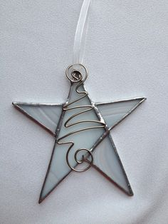Stained Glass Christmas Ornament: White Star with Wire by Mama Agee on Etsy, $7.50