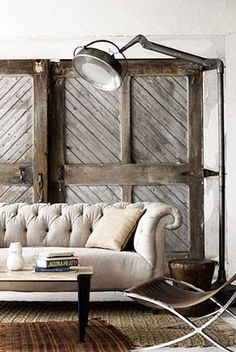 Industrial décor :: old doors, tufted couch and industrial light, mixed with the contempory chair and layered rugs Living Room Designs, Living Spaces, Estilo Interior, Best Leather Sofa, Boho Home, Old Doors, Barn Doors, Home And Living, Living Room Ideas