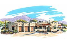This adobe / southwestern design floor plan is 3838 sq ft and has 4 bedrooms and has bathrooms. Mission Style Homes, Elevation Plan, Front Elevation, California Ranch, Adobe House, One Story Homes, Southwest Style, Story House, Exterior Doors
