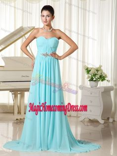 d2d85fc6a03 Dressy Sweetheart Ruched Chiffon Homecoming Dresses with Brush Train Prom  Dress 2013