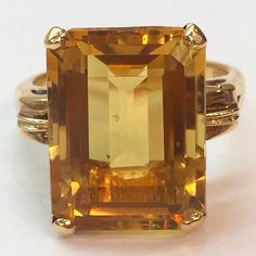 11 Carat Yellow Citrine Ring by BFJewelryEst1984 on Etsy
