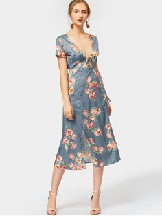 Plunging Neck Slit Flower Dress - BLUE GRAY S