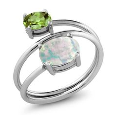2.05 Ct Oval White Simulated Opal Green Peridot 925 Sterling Silver Open Ring - Walmart.com