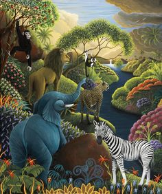 Catherine Musnier - peaceful life in Paradise ♥ Art And Illustration, Art Amour, Art Et Nature, Jungle Art, Tropical Art, Naive Art, Animal Paintings, Art Images, Folk Art
