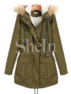 Green Faux Fur Hooded Long Sleeve Zipper Drawstring Coat 49.99