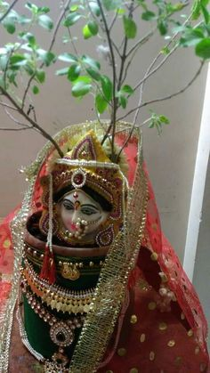 Thulasi kalyanam Gauri Decoration, Mandir Decoration, Ganapati Decoration, Ribbon Decorations, Diwali Decorations, Festival Decorations, Rangoli Designs Diwali, Diwali Rangoli, Paper Flowers Craft