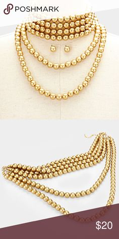 "Draped Layered Faux Pearl Choker Necklace • Style No : [343338] • Color : Matte gold • Theme : Pearl  • 12 mm Pearl • Necklace Size : 14"" + 3"" L  • Decor Size : 5"" L  • Earrings Size : 12 mm • Draped Multi-Layer Strand Pearl Choker Necklace Jewelry Necklaces"