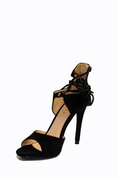 """Simply stunning vegan suede single toe strap heels features a laced-up cord a matching ankle strap, a stiletto heel and patterned sole.    Heel height:5""""   Ankle Laced-Up Heels by Shu Shop. Shoes - Pumps & Heels - High Heel Shoes - Pumps & Heels - Black Miami, Florida"""