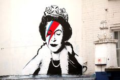 All in all, the feeling for the monarch has never been at such a high in all her 60 years' rule. Even radicals think she's cool now. Better symbolic proof of that can scarcely be had than the compliment to her by graffiti artist Banksy which appeared overnight on a wall in Bristol. It shows Her Maj with a Aladdin Sane flash across her face. It's beautiful.
