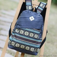 Wow~ Awesome Folk Pattern Print Computer Bag Striped Backpack! It only $38.99 at www.AtWish.com! I like it so much<3<3!