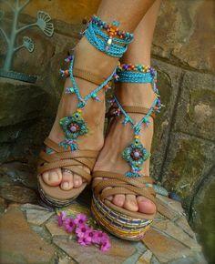 blue HIPPIE summer BAREFOOT SANDALS crochet sandals beaded sandals foot jewelry beach wedding bohemian gypsy shoes