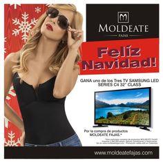 """Llega la navidad y MOLDEATE FAJAS quiere recompensar tu fidelidad. Por eso, a partir del 01 de diciembre de 2015 hasta el 12 de enero de 2016, cada vez que realizas compras por un valor igual o mayor a 60.000 pesos en productos de nuestra marca MOLDEATE, registra tu factura en nuestra página web http://moldeatefajas.com/ y participa por  uno de los tres televisores TV SANSUMG LED SERIES  C4 32"""" CLASS.  Aplica condiciones y restricciones.  #Moldeatefajas #Fajascolombianas #Fajasmoldeadoras"""