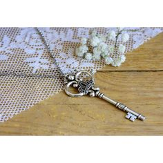 Key necklace, Vintage key necklace, Silver key necklace, Vintage... ❤ liked on Polyvore featuring jewelry, necklaces, vintage long necklace, vintage key necklace, key pendant necklace, vintage necklace and long necklace