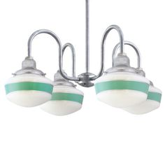 """The Alma Mater 4-Light Schoolhouse Chandelier, 10"""" Shade with Single Stripe in 311-Jadite 