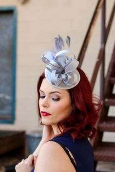 Silver Fascinator Women's Tea Party Hat Tea Party by QueenSugarBee