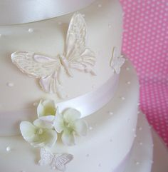 Pretty wedding cake with butterflies    by nice icing, via Flickr