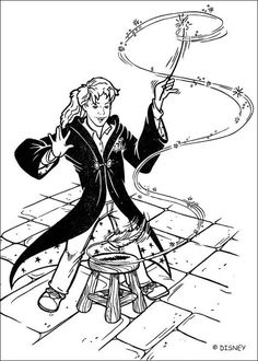 Harry Potter coloring sheet Hermione is using a magic spell Cartoon Coloring Pages, Disney Coloring Pages, Coloring For Kids, Coloring Pages For Kids, Coloring Sheets, Coloring Books, Harry Potter Colors, Harry Potter Day, Harry Potter Quilt