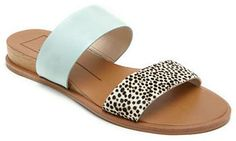 Dolce Vita Payce Leather and Calf Hair Slide Sandals