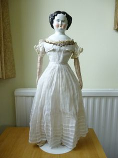 Large 23 inches 1870s Antique China Head Doll Original Muslin Dress | eBay