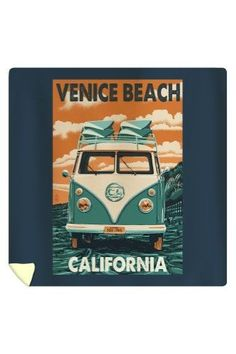 Venice Beach, California - VW Van - Lantern Press Artwork (88x88 Queen Microfiber Duvet Cover), Multi