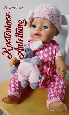 Free sewing pattern - doll romper by Maredina-Kostenloses Schnittmuster – Puppenstrampler by Maredina Free pattern with instructions - Sewing Patterns Free, Free Sewing, Clothing Patterns, Free Pattern, Single Crochet Stitch, Basic Crochet Stitches, Finger Crochet, Hat Stands, Yarn Thread