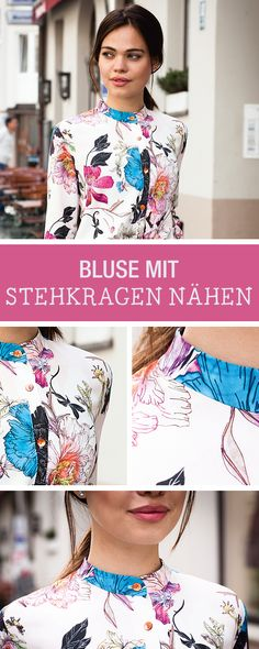 Kostenlose Nähanleitung für eine moderne Bluse mit Stehkragen / diy sewing tutorial and pattern for a blouse with stand-up collar via DaWanda.com