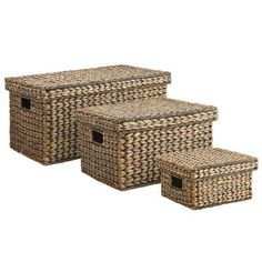 Hand-woven of water hyacinth, these lidded baskets are simply beautiful. Place them on a nearby shelf or counter, and use them to organize your life so it will be simply beautiful, too. Storage Baskets With Lids, Basket Shelves, Large Baskets, Storage Bins, Rattan Basket, Wicker, Unique Home Decor, Home Decor Items, Affordable Storage
