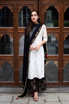 White Black Combination Ethnic Kurta Set - kurta in white paired with black pants and black dupatta Churidar, Patiala, Salwar Kameez, Sharara, Kurta Lehenga, Salwar Dress, Saree, Pakistani Outfits, Indian Outfits
