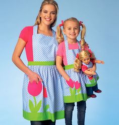 These sweet aprons have detachable, lined bibs with neckties, waistband with ties and hem bands. Complete the look with pretty flower appliqués. Kwik Sew K4105, Misses'/Girls'/Dolls' Aprons sewing pattern.