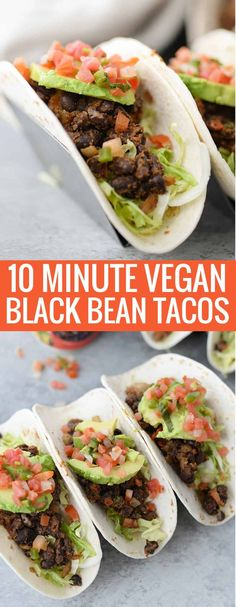 10 Minute Vegan Black Bean Tacos is part of Recipe Minute Black Bean Tacos Kitchn - 10 Minute Black Bean Tacos! Want a quick weeknight meal! Try these vegan black bean tacos Super healthy and delicious Vegan Mexican Recipes, Vegetarian Mexican, Vegetarian Tacos, Vegan Tacos, Vegetarian Recipes Dinner, Vegan Dinners, Vegan Recipes, Vegetarian Lifestyle, Vegan Food