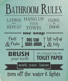 Love this 'Bathroom Rules' Wall Quotes™ Decal by Wallquotes.com by Belvedere…