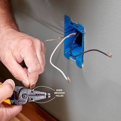 Installing an Electrical Outlet Anywhere: Adding receptacles isn't overly complicated, but there are facts you should know in order to stay safe and code compliant. Add Electrical Outlet, Installing Electrical Outlet, Outlet Wiring, Home Electrical Wiring, Electrical Code, Electrical Outlets, Electrical Projects, Home Building Design, Build Your Own House