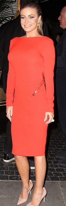 Who made  Carmen Electra's red long sleeve dress that she wore on January 11, 2013?