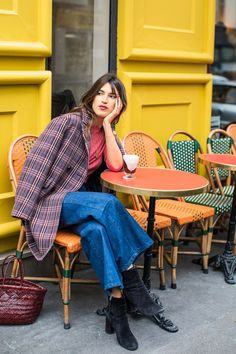 """Monday: """"My winter uniform is jeans, boots, and an oversize blazer for good measure. It's my formula for getting dressed in under 10 minutes."""" Sandro blazer, $630, Sandro; La Vie Rebecca Taylor pullover, $275, Rebecca Taylor; Rouje jeans, $150, Rouje"""