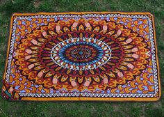 """""""Spirit Bear"""" is a mandala pattern based on the native tribes' zuni bear.  May the spirit of this Tarpestry protect from the rain and dewy grass!  http://thetarpestry.com/shop/spirit-bear/"""