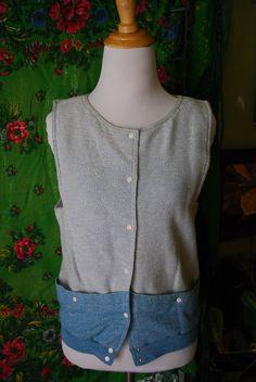 Vintage button down vest/tank top by CerealVintageThrift on Etsy, $12.00