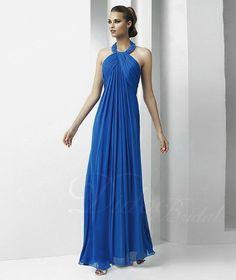 Stunning Ruched A-line Halter Floor-length Chiffon Evening Dress