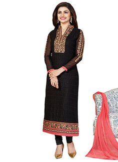Prachi Desai Black Georgette Straight Suit
