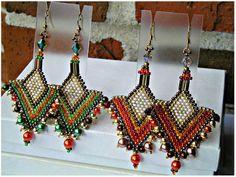 Tribal Ethic Geometric Design Seed Beaded by FreedomDesignbyFreda Seed Bead Jewelry, Bead Jewellery, Seed Bead Earrings, Beaded Earrings, Seed Beads, Beaded Jewelry, Beaded Bracelets, Native American Patterns, Brick Stitch Earrings