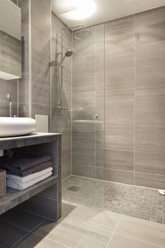 Shower - Small bathroom....like tiles on shower floor and walls of shower...and floor #bathroomideassmall #smallbathroomrenovations #bathroomconstruction