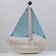 Ceramic Boat 'What Shall We Do With a Drunken Sailor' £40.00